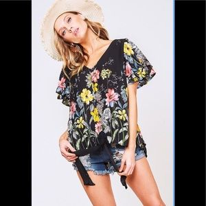 A Girl Thing Tops - 🌼 Black Floral Tie-Front Top